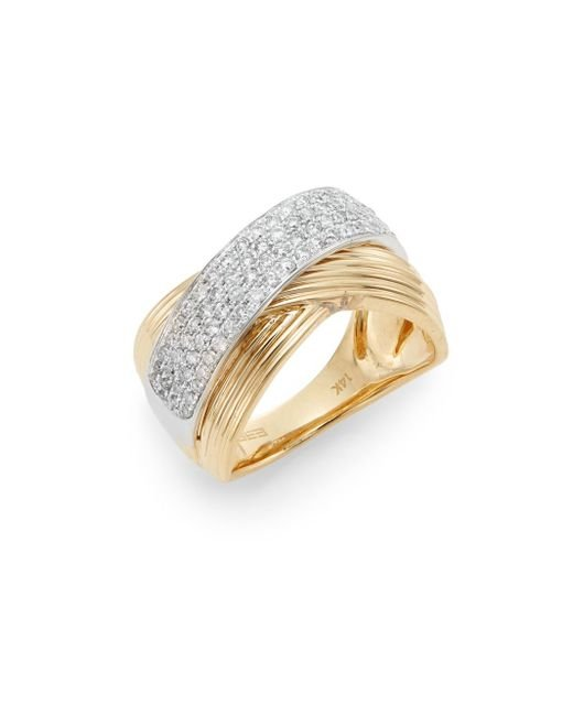 Effy | Metallic Diamond, 14k Yellow Gold & 14k White Gold Ring | Lyst