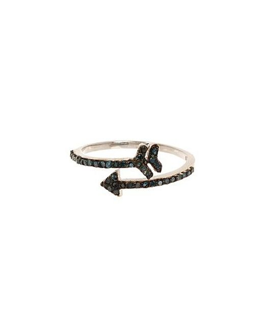 Vanhi sterling silver diamond arrow ring in black lyst for Jewelry storm arrow ring