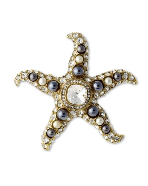 Kenneth Jay Lane | Metallic Two Toned Pearl Starfish Brooch | Lyst
