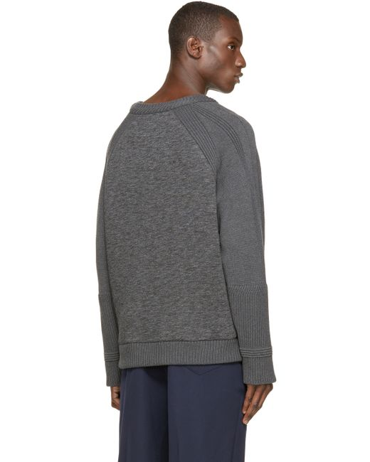 Juun.J | Gray Grey Neoprene & Knit Sweater for Men | Lyst