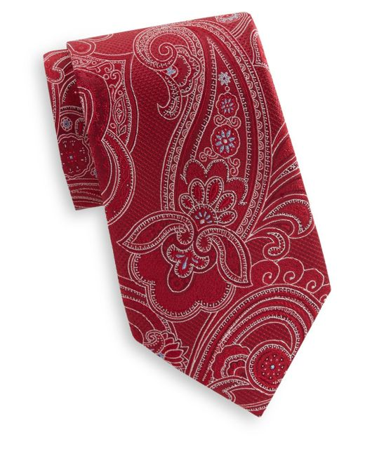 Saks Fifth Avenue | Red Large Paisley Print Silk Tie for Men | Lyst