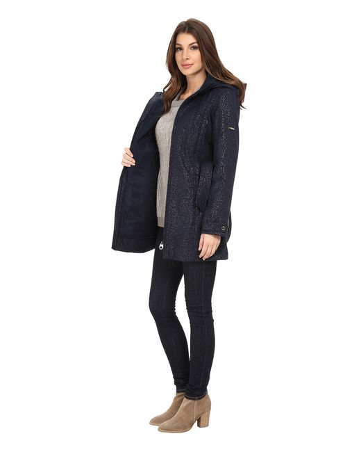 Calvin Klein | Blue Zip Front Belted Soft Shell W/ Hood | Lyst