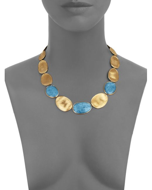 Marco Bicego   Metallic Lunaria Aquamarine & 18k Yellow Gold Medium Collar Necklace   Lyst