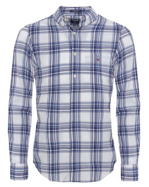 Gant telltail madras check shirt in white for men lyst for Mens madras shirt sale