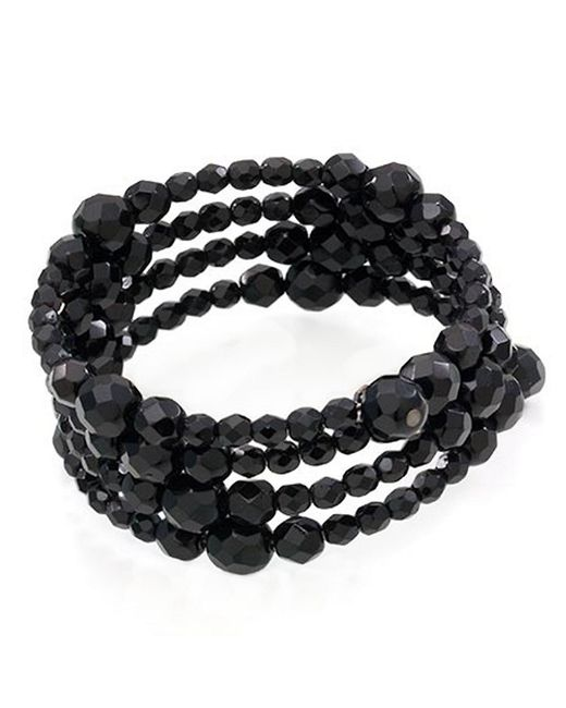 Carolee | Black Bracelet, Jet Bead Three Row Stretch | Lyst