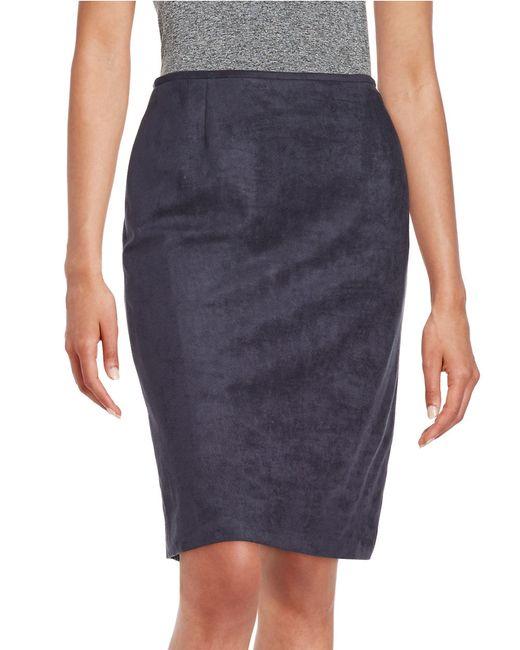 tahari faux suede pencil skirt in blue lyst