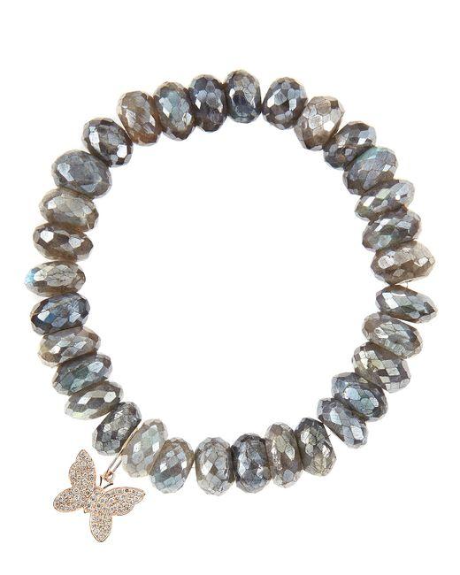 Sydney Evan | Gray 10mm Mystic Labradorite Beaded Bracelet With 14k Gold/diamond Small Starburst Charm (made To Order) | Lyst