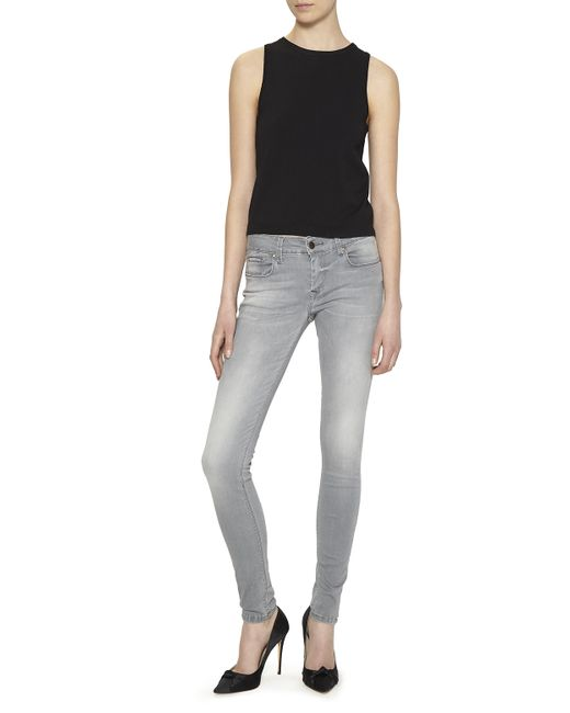 Nicole miller Low Rise Skinny Jeans in Gray (GREY)