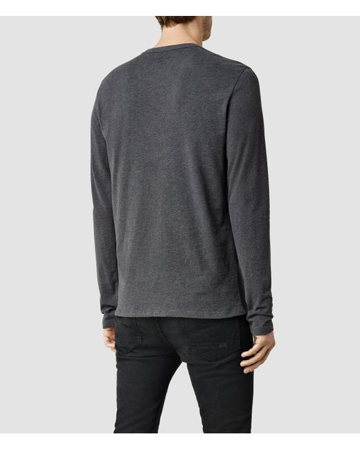 AllSaints | Gray Brace Long Sleeve Tonic Crew T-shirt Usa Usa for Men | Lyst