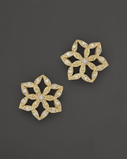 Mizuki   Metallic 14k Yellow Gold Diamond Flower Crest Earrings   Lyst