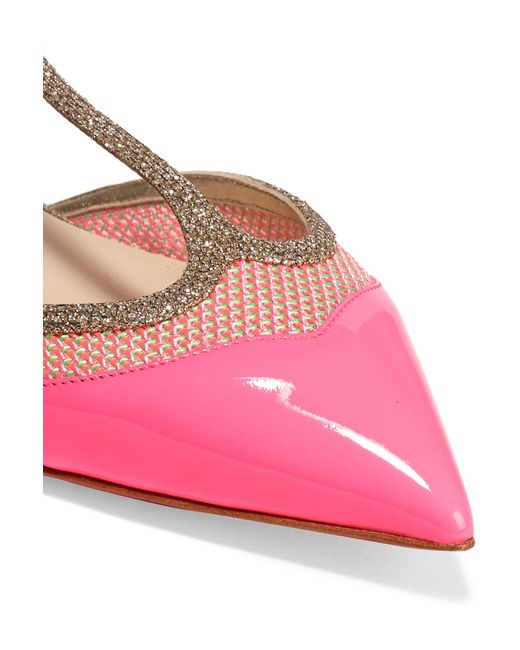 Christian louboutin Mrs Early Glitter-trimmed Neon Patent-leather ...