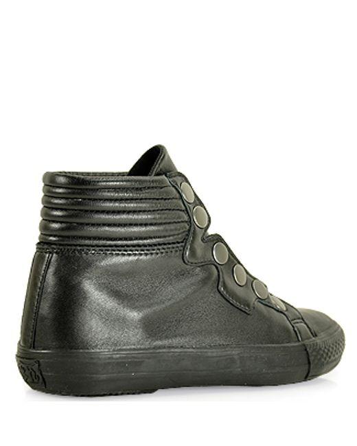 ash leather high top sneaker in black lyst. Black Bedroom Furniture Sets. Home Design Ideas
