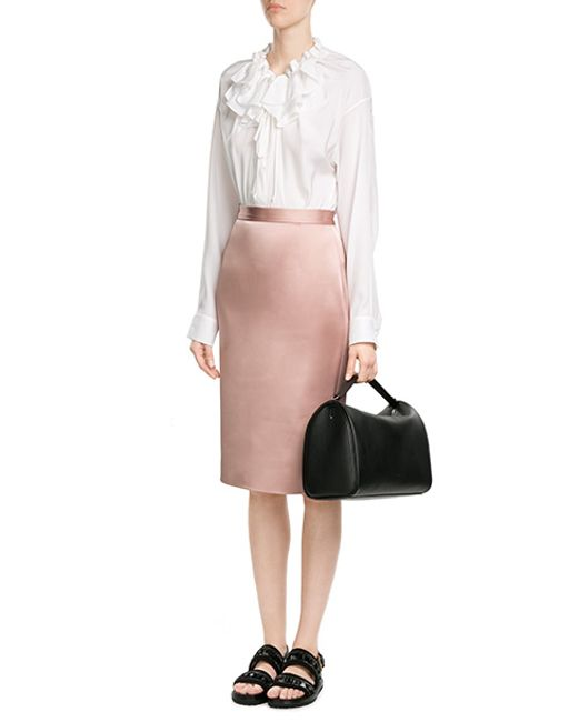 jil sander satin pencil skirt in pink save 51 lyst
