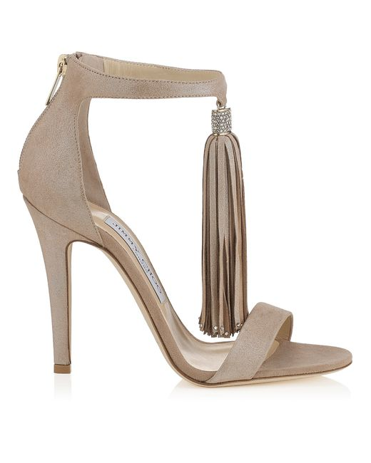 Jimmy Choo | Natural Viola 110 Nude Shimmer Suede Sandals With A Nude Shimmer Suede Tassel | Lyst