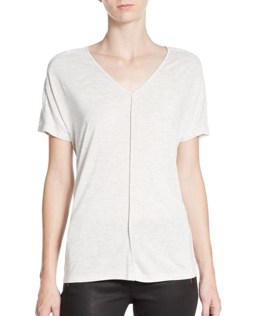 VINCE | White Piped Drape Tee | Lyst