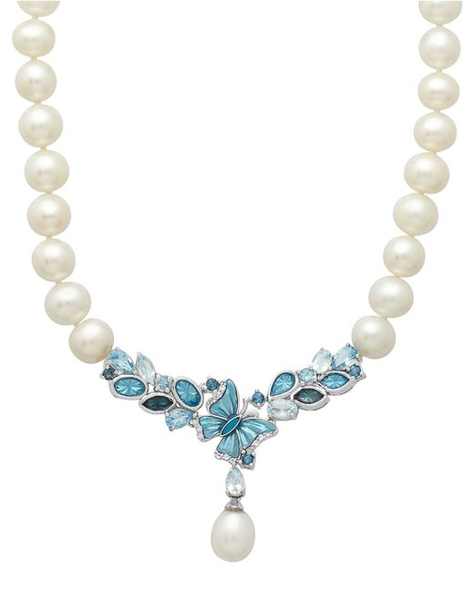 Lord & Taylor | Sterling Silver Multi Blue Topaz Freshwater Pearl Necklace | Lyst