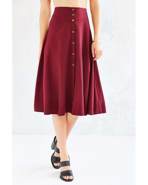 ecote button midi skirt in purple maroon save 43
