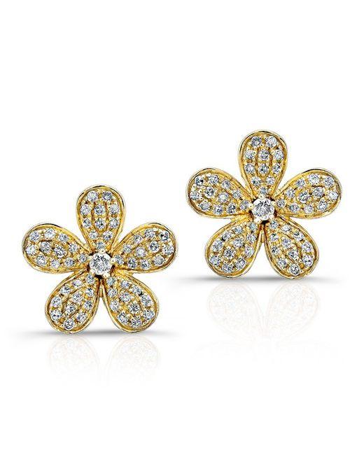 Anne Sisteron - Metallic 14kt Yellow Gold Diamond Flower Earrings - Lyst