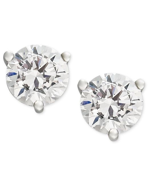 Macy's | Metallic Near Colorless Certified Diamond Stud Earrings In 18k White Or Yellow Gold (1 Ct. T.w.) | Lyst