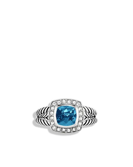 David Yurman | Petite Albion Ring With Hampton Blue Topaz And Diamonds | Lyst