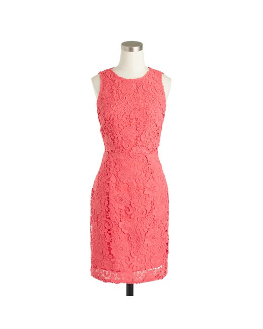 J.Crew | Pink Sleeveless Floral Lace Sheath Dress | Lyst
