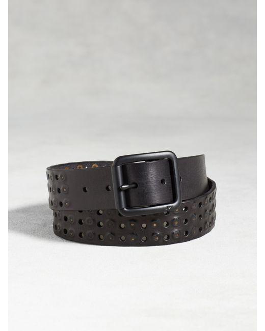 varvatos leather studded belt in black for lyst