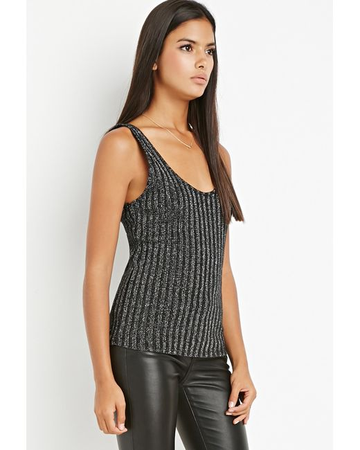 Forever 21 | Contemporary Metallic Ribbed Knit Top | Lyst