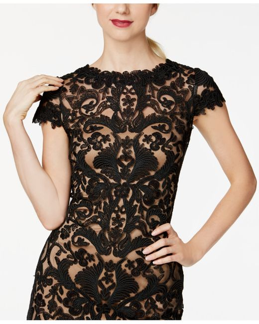 Tadashi Shoji | Brown Short- Seeve Lace Overlay Cocktail Dress | Lyst