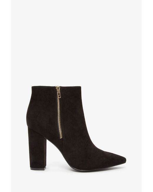 Forever 21 | Black Pointed Zip-up Booties | Lyst