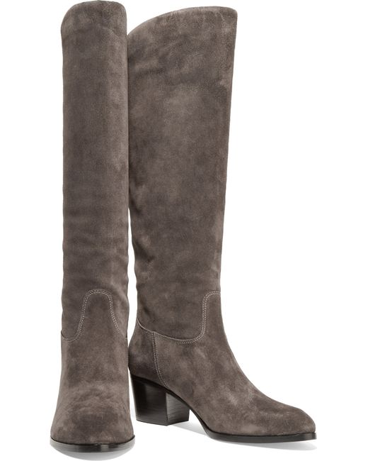 sigerson morrison suede knee boots in brown lyst