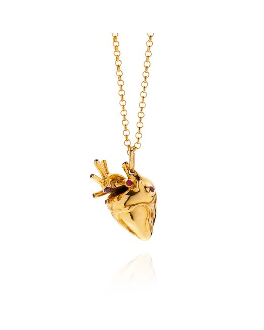 Strange Fruit | Metallic Heart Pendant Gold With Rubies | Lyst