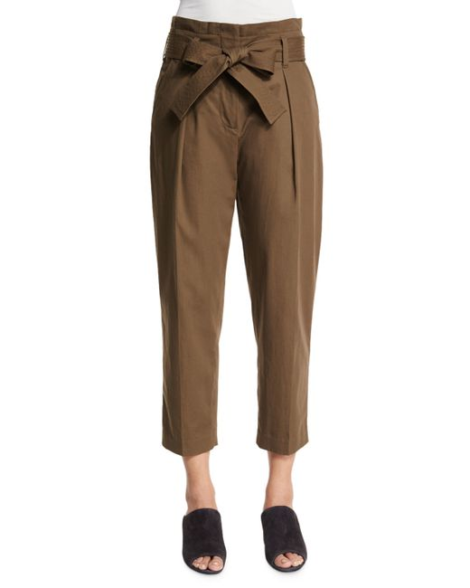3.1 phillip lim Paperbag-Waist Cotton and Linen-Blend Pants in Khaki (LODEN) | Lyst