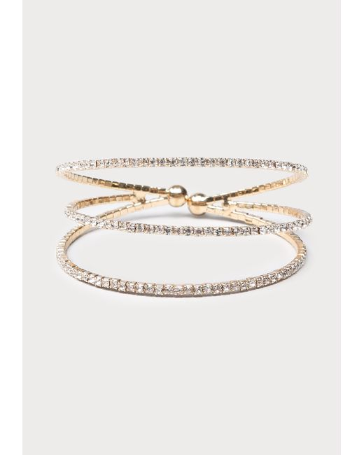 Bebe | Metallic Crystal Lined Triple Cuff | Lyst