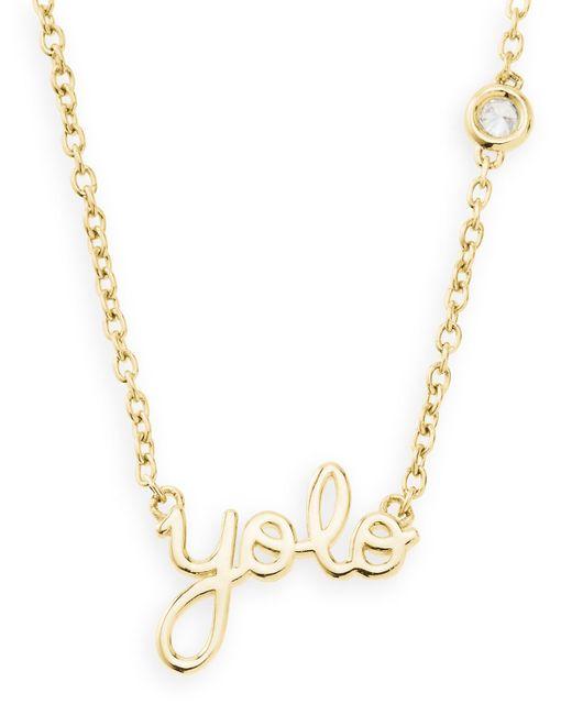 Shy By Sydney Evan   Metallic Gold Yolo Pendant Bezel Diamond Necklace   Lyst