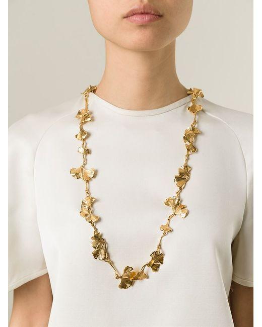 Aurelie Bidermann   Metallic Ginkgo Long Sautoir Necklace   Lyst