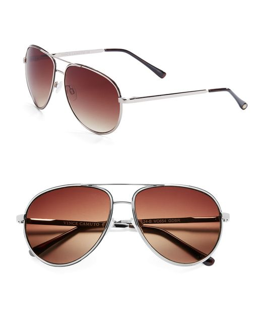 Vince Camuto | Metallic 63mm Aviator Sunglasses | Lyst