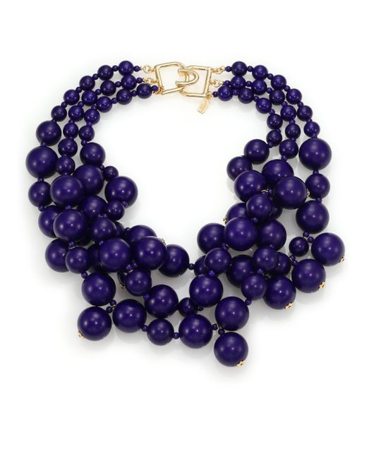 Kenneth Jay Lane | Blue Beaded Statement Necklace | Lyst