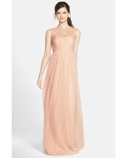 Jenny Yoo | Pink 'aria' Illusion Yoke Pleated Tulle Gown | Lyst