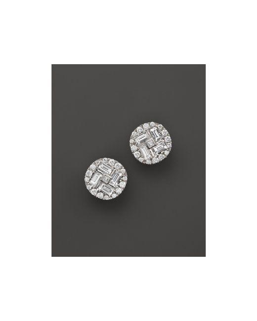 Roberto Coin | 18k White Gold Diamond Baguette Stud Earrings | Lyst