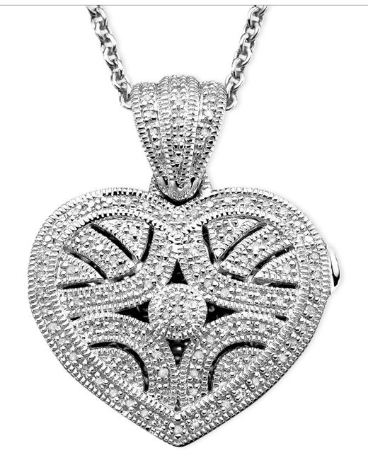 Macy's | Metallic Sterling Silver Pendant, Diamond Heart Locket (1/3 Ct. T.w.) | Lyst