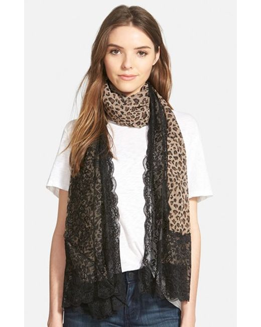 La Fiorentina | Brown Animal Print Scarf | Lyst