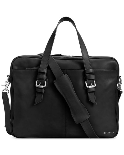 Cole Haan Smooth Leather Zip Top Attache Bag In Black For