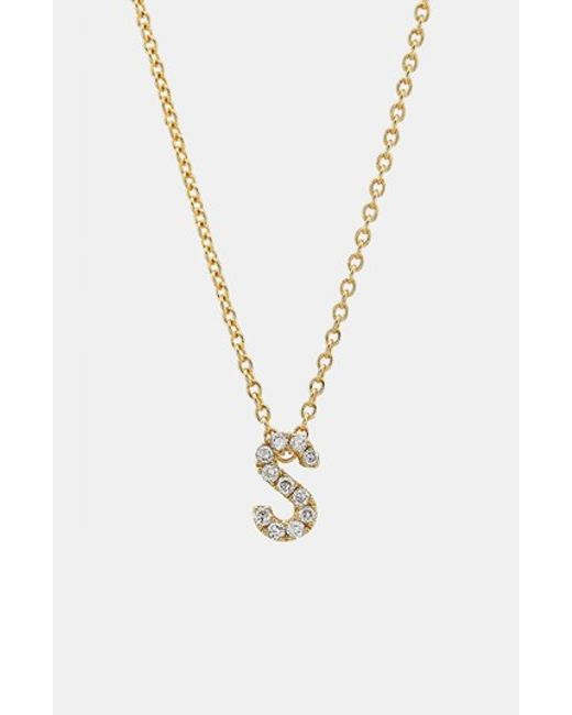 Bony Levy | Metallic Pave Diamond Initial Pendant Necklace (nordstrom Exclusive) | Lyst
