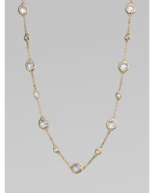 Adriana Orsini | Metallic Stationed Bezel-set Necklace | Lyst