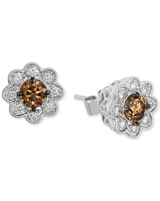 Le Vian | Metallic Chocolatier® Chocolate Deco Estate™ Diamond Flower Stud Earrings (3/4 Ct. T.w.) In 14k White Gold | Lyst