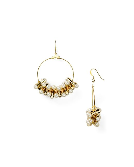 Kenneth Jay Lane | White Faux-pearl Hoop Earrings | Lyst