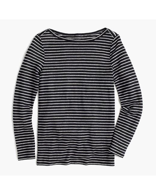 Linen long sleeve striped t shirt in blue navy for Navy blue striped long sleeve shirt
