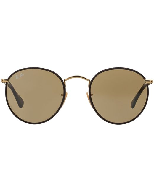 Ray ban rb3475q round craft in black gold matte brown lyst for Ray ban round craft