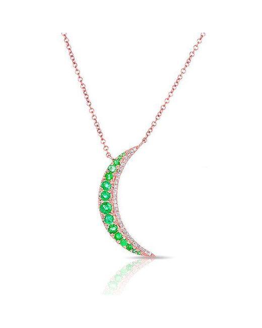 Anne Sisteron - Metallic 14kt Yellow Gold Emerald Moon Diamond Necklace - Lyst