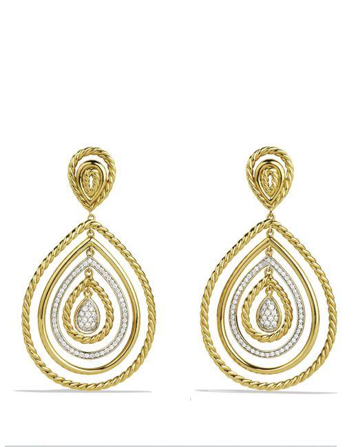 David Yurman | Metallic Cable Classics Drop Earrings With Diamonds In Gold | Lyst